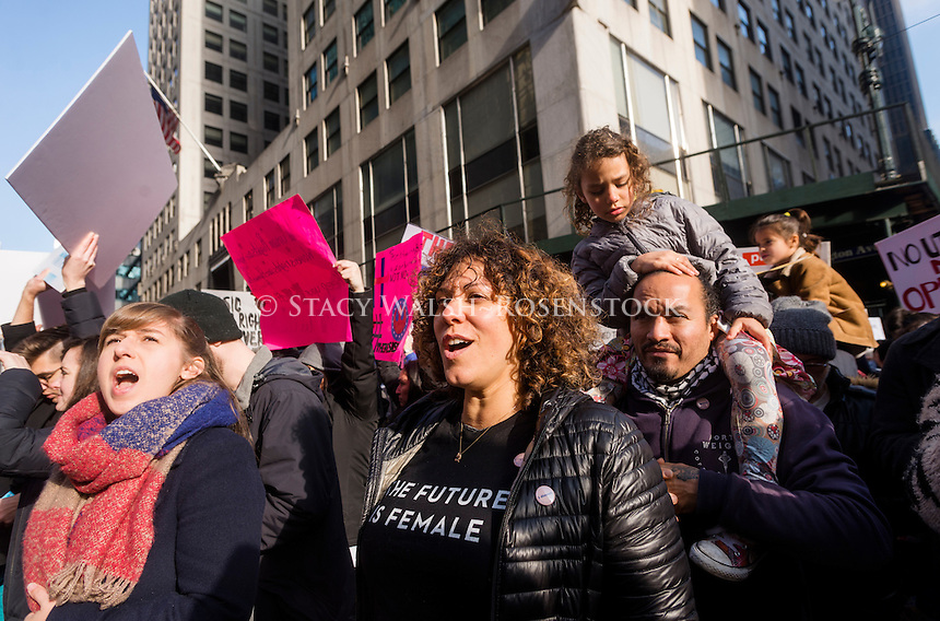 New York, USA 21 Jan 2017 - An estimated 400 to 500 protesters marched from Daj Hamerskold Plaza, at the UN, to Trump Tower to protest against President Donald Trump on his first day in office. ©Stacy Walsh Rosenstock/Alamy
