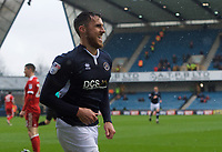 Lee Gregory of Millwall celebrates after scoring his side's 2nd goal to make not 2-0 during the Sky Bet Championship match between Millwall and Nottingham Forest at The Den, London, England on 30 March 2018. Photo by Alan  Stanford / PRiME Media Images.