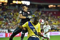 Glendale, AZ - Wednesday June 08, 2016:  Ecuador forward Jaime Ayoví (17) fouls Peru goalkeeper Pedro Gallese (1) during a Copa America Centenario Group B match between Ecuador (ECU) and Peru (PER) at University of Phoenix Stadium.