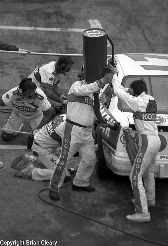 Rusty Wallace pit stop pis Daytona 500 at Daytona International Speedway on February 19, 1989.  (Photo by Brian Cleary/www.bcpix.xom)