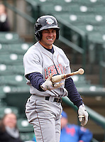 Lehigh Valley IronPigs outfielder Scott Podsednik #2 reacts to a pitch while at bat during a game against the Rochester Red Wings at Frontier Field on April 22, 2012 in Rochester, New York.  Rochester defeated Lehigh Valley 3-2.  (Mike Janes/Four Seam Images)