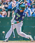8 July 2014: Vermont Lake Monsters infielder Jose Brizuela in action against the Lowell Spinners at Centennial Field in Burlington, Vermont. The Lake Monsters rallied with two runs in the 9th to defeat the Spinners 5-4 in NY Penn League action. Mandatory Credit: Ed Wolfstein Photo *** RAW Image File Available ****