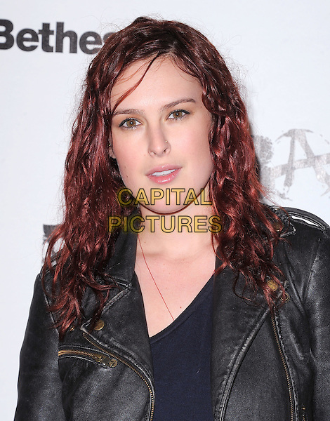 Rumer Willis.attends the official launch party for 'Rage' in ChinaTown, Los Angeles, California, USA, September 30th 2011..portrait headshot  black leather jacket .CAP/RKE/DVS.©DVS/RockinExposures/Capital Pictures.