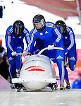 19 December 2010: Alexandr Zubkov leads his 4-Man Bobsled team in the push-off for Russia, but was disqualified for the sled being underweight at the Viessmann FIBT World Cup Championships on Mount Van Hoevenberg in Lake Placid, New York, USA. Mandatory Credit: Ed Wolfstein Photo