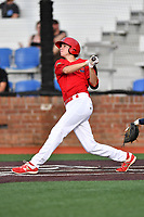 Johnson City Cardinals third baseman Brady Whalen (7) swings at a pitch during a game against the Danville Braves at TVA Credit Union Ballpark on July 23, 2017 in Johnson City, Tennessee. The Cardinals defeated the Braves 8-5. (Tony Farlow/Four Seam Images)