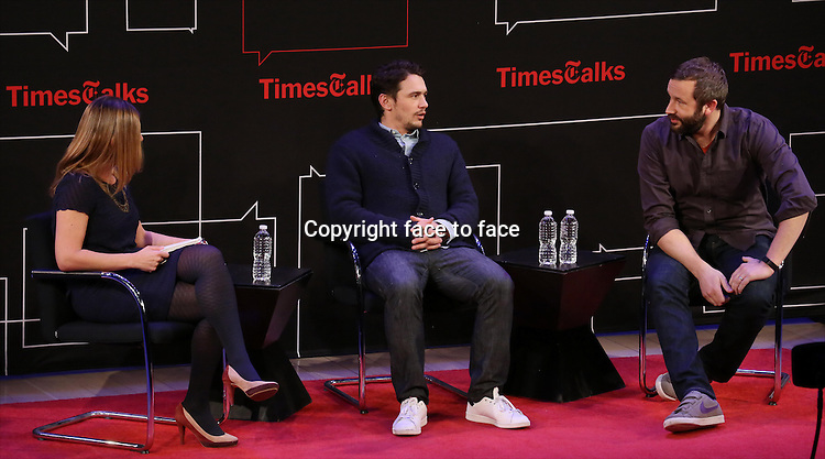 New York Times reporter Melena Ryzik with James Franco and Chris O'Dowd onstage at TimesTalks Presents 'An Evening With James Franco And Chris O'Dowd' at the Times Center on March 7, 2014 in New York City.<br /> Credit: McBride/face to face