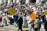 Crowd scene of many participants and signholders at a Pro Choice March and Rally are gathered on the steps of the National Art Gallery in Washington, D.C.  abortion, protest, politics, women, rights, power, demonstrations, political activism, prot testers