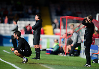 Lincoln City manager Danny Cowley, left, and Nicky Cowley in their technical area<br /> <br /> Photographer Andrew Vaughan/CameraSport<br /> <br /> The EFL Sky Bet League One - Lincoln City v Fleetwood Town - Saturday 31st August 2019 - Sincil Bank - Lincoln<br /> <br /> World Copyright © 2019 CameraSport. All rights reserved. 43 Linden Ave. Countesthorpe. Leicester. England. LE8 5PG - Tel: +44 (0) 116 277 4147 - admin@camerasport.com - www.camerasport.com