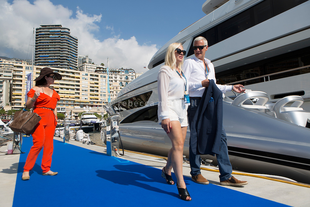 Show-goers pass by the Mercedes new tender, Monaco Yacht Show, Monaco, 29 September 2016