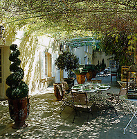 A table laid for lunch on a terrace beneath an arbour covered in vines