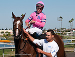 June 18, 2011.Blind Luck ridden by Garrett Gomez cooling down after winning the Vanity Handicapat Hollywood Park, Inglewood, CA.