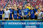 FC Internazionale squad pose for team photo with the winner trophy after winning Chelsea 1 - 2 during the International Champions Cup 2017 match between FC Internazionale and Chelsea FC on July 29, 2017 in Singapore. Photo by Marcio Rodrigo Machado / Power Sport Images
