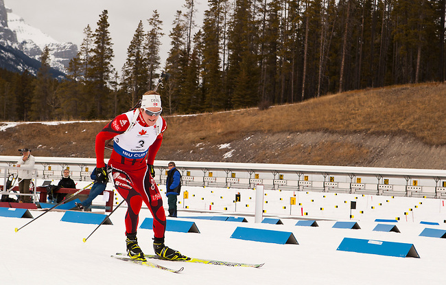 Martin Eng of Norway races out of the gate at The International Biathlon Union Cup #6 Men's 10 KM Sprint held at the Canmore Nordic Center in Canmore Alberta, Canada, on Feb 12, 2012.  Martin went on to finish 4th.