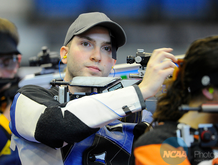 12 MAR 2011: Nicco Campriani of West Virginia University competes in the air rifle competition during the Division I Rifle Championship held at the Frank G. Lumpkin Jr. Center on the Columbus State University campus in Columbus, GA. Campriani finished in first place with a score of 599 to claim the national title. Cliff Williams/NCAA Photos
