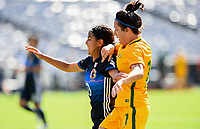 San Diego, CA - Sunday July 30, 2017: Mizuho Sakaguchi, Lisa De Vanna during a 2017 Tournament of Nations match between the women's national teams of the Australia (AUS) and Japan (JAP) at Qualcomm Stadium.
