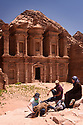 A PIECE OF JORDAN - TRAVEL FEATURE. JOURNALIST HAZEL SOUTHAM WITH ANAS AND STEPH TWASSI IN FRONT OF THE MONASTERY AT THE ANCIENT NABATEAN SITE OF PETRA, JORDAN.  PHOTO BY CLARE KENDALL. 07971 477316.