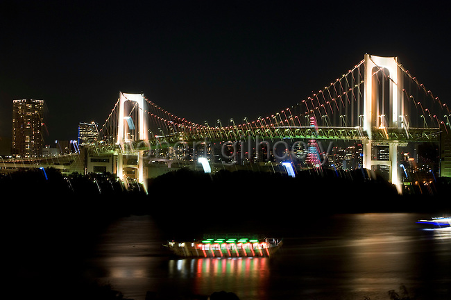 """Yakata-bune"" pleasure boats set anchor on the placid waters of Tokyo Bay in Tokyo, Japan on 03 November  2010. .Photographer: Robert Gilhooly"