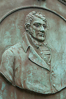 Grave of American Engineer and Inventor Robert Fulton (1755-1815) in the Trinity Church Churchyard, Broadway near Wall Street,<br /> <br /> Lower Manhattan, New York City, New York State, USA..Robert Fulton is widely creditted with developing the world's first commercially successful steamboat.