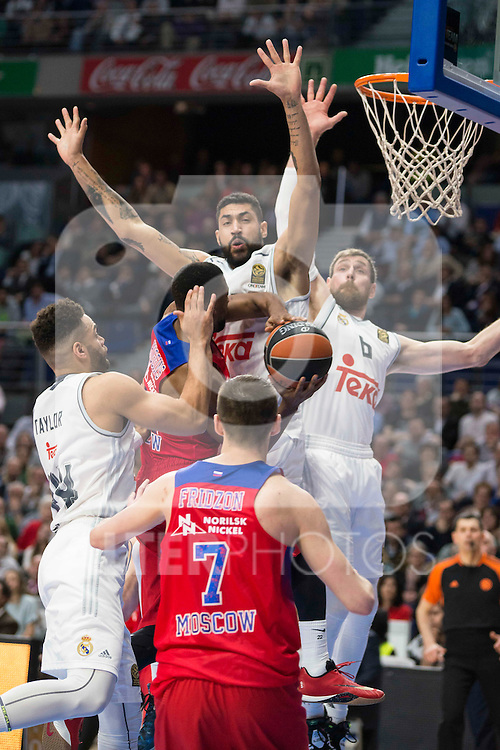 Real Madrid's player Jeffery Taylor, Nocioni and Lima and CSKA Moscu's player Jackson during the match between Real Madrid and CSKA Moscu of Turkish Airlines Euroleague at Barclaycard Center in Madrid, March 02, 2016. (ALTERPHOTOS/BorjaB.Hojas) during the match between Real Madrid and CSKA Moscu of Turkish Airlines Euroleague at Barclaycard Center in Madrid, March 02, 2016. (ALTERPHOTOS/BorjaB.Hojas)
