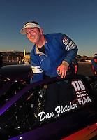Nov. 2, 2008; Las Vegas, NV, USA: NHRA comp eliminator driver Dan Fletcher after winning the Las Vegas Nationals at The Strip in Las Vegas. Mandatory Credit: Mark J. Rebilas-