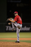 AZL Angels relief pitcher Tanner Chock (86) delivers a pitch during an Arizona League game against the AZL Indians 2 at Tempe Diablo Stadium on June 30, 2018 in Tempe, Arizona. The AZL Indians 2 defeated the AZL Angels by a score of 13-8. (Zachary Lucy/Four Seam Images)
