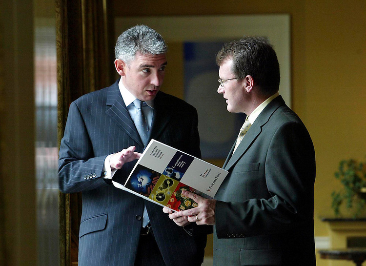 "John Cunningham, Friends First General Manager Group Planning & Marketing (left) and Jim Power, Friends First Chief Economist, pictured here today at the launch of the Friends first Quarterly Economic Outlook entitled "" Competitiveness - The Key Challenge Ahead"" held in the Merrrion Hotel, Dublin. Pic. Robbie Reynolds. ."