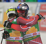 Aksel Lund SVINDAL, Kjetil JANSRUD competes during the FIS Alpine Ski World Cup Men's Parallel Giant Slalom in Alta Badia, on December 21, 2015. Norway's Kjetil Jansrud wins the race, Aksel Lund Svindal second and Sweden's Andre Myrher is third.