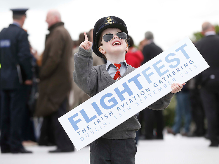 No Repro Fee..Robert Kennedy, age 6 from Stepaside, Co. Dublin (left) pictured on the Sean O'Casey Bridge in Dublin at the launch of the Irish Aviation Authority and Dublin City Council's FlightFest, a once-in-a-lifetime International Aviation fly pass into Dublin port and up along the river Liffey as part of the Gathering Ireland 2013 taking place on September 15th. Over 30 aircraft including a Boeing 737, a World War 2 Spitfire and B-17 Flying Fortress will be among some of the aircraft on show. Pic. Robbie Reynolds.