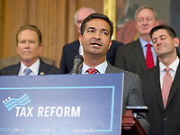 United States Representative Carlos Curbelo (Republican of Florida) makes remarks as US Senate and House Republicans announce their new tax plan endorsed by US President Donald J. Trump in the US Capitol in Washington, DC on Wednesday, September 27, 2017. Photo Credit: Ron Sachs/CNP/AdMedia