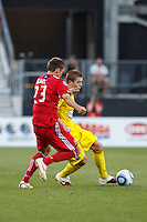 3 JULY 2010:  Krzysztof Krol of Chicago Fire (23) and Robbie Rogers of the Columbus Crew (18) during MLS soccer game between Chicago Fire vs Columbus Crew at Crew Stadium in Columbus, Ohio on July 3, 2010.