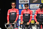 Koen De Kort (NED) and John Degenkolb (GER) Trek-Segafredo team presented to the crowd before the start of the 60th edition of the Record Bank E3 Harelbeke 2017, Flanders, Belgium. 24th March 2017.<br /> Picture: Eoin Clarke | Cyclefile<br /> <br /> <br /> All photos usage must carry mandatory copyright credit (&copy; Cyclefile | Eoin Clarke)