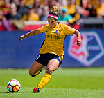 Utah Royals FC midfielder Desiree Scott (11) passes the ball in the first half Saturday, April 14, 2018, during the National Woman Soccer League game at Rio Tiinto Stadium in Sandy, Utah. (© 2018 Douglas C. Pizac)