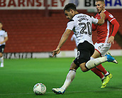 12th September 2017, Oakwell, Barnsley, England; Carabao Cup, second round, Barnsley versus Derby County; Mason Bennett of Derby County crosses the ball into the box