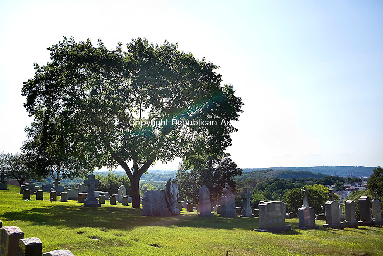 Waterbury, CT- 09 August 2015-080915CM06- The top of Calvary Cemetery in Waterbury is shown on Friday. This area covers the fourth aldermanic district Christopher Massa Republican-American