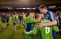 Fredy Montero, Osvaldo Alonso. The Seattle Sounders defeated DC United, 2-1, to win the 2009 Lamr Hunt U.S. Open Cup at RFK Stadium in Washington, DC.