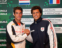 17-9-09, Netherlands,  Maastricht, Tennis, Daviscup Netherlands-France, Draw, de tweede singel vrijdag is Jesse Huta Galung tegen Jo-Winfried Tjonga(r)