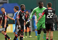 WASHINGTON, D.C. - AUGUST 19, 2012:  Brandon McDonald (4), Bill Hamid (28) of DC United argue with Chris Kolb (22) at the end of an MLS match against the Philadelphia Union at RFK Stadium, in Washington DC, on August 19. The game ended in a 1-1 tie.