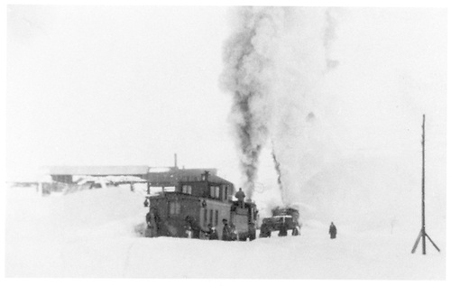 D&amp;RGW snow removal train with rotary, engine, and caboose.<br /> D&amp;RGW  Crested Butte Branch, CO