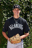 Pitcher Carson Sands (11) of Florida Christian School in Tallahassee, Florida poses for a photo before the Under Armour All-American Game on August 24, 2013 at Wrigley Field in Chicago, Illinois.  (Mike Janes/Four Seam Images)
