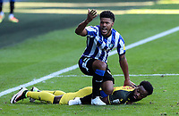 Sheffield Wednesday's Elias Kachunga reacts to a decision after a challenge on Watford's Nathaniel Chalobah<br /> <br /> Photographer Alex Dodd/CameraSport<br /> <br /> The EFL Sky Bet Championship - Sheffield Wednesday v Watford - Saturday 19th September 2020 - Hillsborough Stadium - Sheffield <br /> <br /> World Copyright © 2020 CameraSport. All rights reserved. 43 Linden Ave. Countesthorpe. Leicester. England. LE8 5PG - Tel: +44 (0) 116 277 4147 - admin@camerasport.com - www.camerasport.com