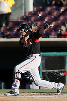 Michael Wing #16 of the Lake Elsinore Storm bats against the Inland Empire 66'ers at San Manuel Stadium on July 15, 2012 in San Bernardino, California. Inland Empire defeated Lake Elsinore 4-3. (Larry Goren/Four Seam Images)