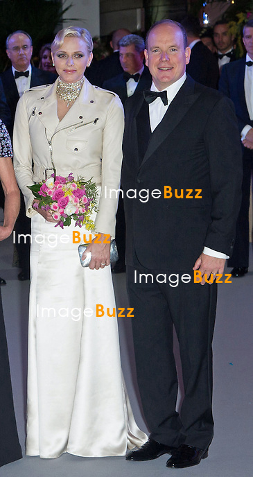 March 23, 2013-Monaco Princely Family attends the 'Bal de la Rose du Rocher' on the 150th anniversary of SBM at Monte-Carlo Sporting. .T. S. H. Prince Albert and Princess Charlene, H. R. H. Princess Caroline of Hanover with children Charlotte Casiraghi with her boyfriend Gad Elmaleh and Pierre Casiraghi with Beatrice Borromeo and Karl Lagerfeld.