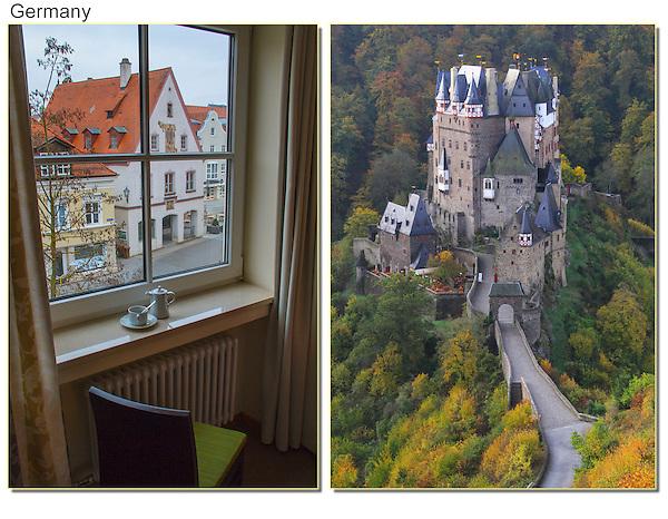 Memmingen hotel room and Burg Eltz Castle, Rhine River Valley, Germany.