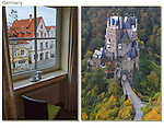 """Germany, Burg Eltz Castle.  <br /> Two kinds of """"I was here"""" memories. On the left, more personal image from our hotel room in Memmingen and perhaps better for social media. <br /> Burg Eltz Castle is depicted in a classic calendar-style image. Germany."""
