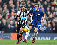 Ayoze Perez of Newcastle United under pressure from Andreas Christensen of Chelsea during the Premier League match between Chelsea and Newcastle United at Stamford Bridge, London, England on 2 December 2017. Photo by David Horn.