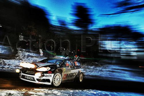 21.01.2016. Monte Carlo, Monaco. The Monte Carlo Rally 2016. The cars takes to the course.  Ott TanakC(EST)- R.Molder (EST)-Ford Fiesta WRC