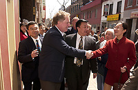 May 4,  2003, Montreal, (Quebec), Canada<br /> <br /> Quebec Premier Jean Charest and his wife shake hands with business owners and general public in Montreal's Chinatown, which is near empty since the SARS outbreak in Toronto.<br /> No SARS case has been reported in Montreal city or in Quebec Province
