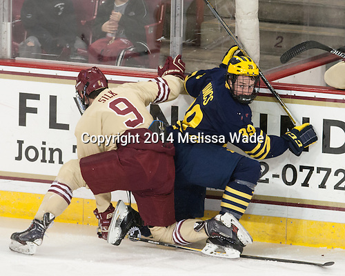Brendan Silk (BC - 9), Dexter Dancs (Michigan - 39) - The Boston College Eagles defeated the visiting University of Michigan Wolverines 5-1 (EN) on Saturday, December 13, 2014, at Kelley Rink in Conte Forum in Chestnut Hill, Massachusetts.