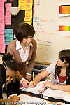 Public Middle School Grade 7 foreign language Italian female teacher at work talking to student vertical