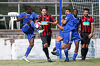 Terrell Miller of Redbridge clears the ball during Redbridge vs Saffron Walden Town, Essex Senior League Football at Oakside Stadium on 4th August 2018